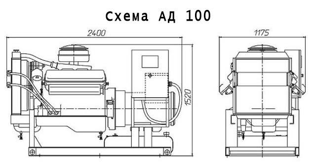 Габаритный чертеж АД-100